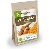 Mr. Brown bio kurkuma 250g   de la India   Curcuma polvo   kurkuma, gemahlen   Especias Cocinar y Hornear, cultivo ecológico)