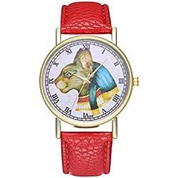 ADream Reloj de Cuero del Gato Egipcio de la antigüedad God Bastet para el Reloj de los Hombres de Las Mujeres Regalo de Boda del cumpleaños