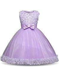 Vestido de Fiesta Princesa Niña, Vestido de Noche de Encaje de Flores de Boda para