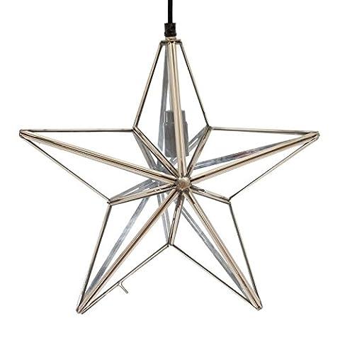 Emporio Arts EMPORIO Lumières fait main en verre à suspendre Star, en verre, en verre avec cadre Nickel, E27, 40Watts