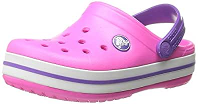 Crocs Crocband Unisex Kids' Clogs - Neon Magenta/Neon Purple, J1 UK (32-33 EU)