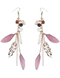 OOMPH Pink and Golden Crystal Metal Feathers with Bohemian Charms Drop Fashion Earrings in Gold Tone for Women
