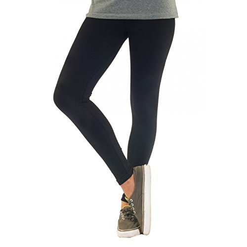 Blickdichte Damen Leggings aus Baumwolle Leggins Knöchellang in schwarz weiß grün grau rot gelb, Farbe: Schwarz, Größe: 44-46