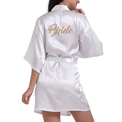 Braut-robe (Hibote Fashio Bridal Party Robe Brief Braut auf der Robe Zurück Frauen Short Satin Hochzeit Kimono Nachtwäsche Spa Roben für Damen White M)