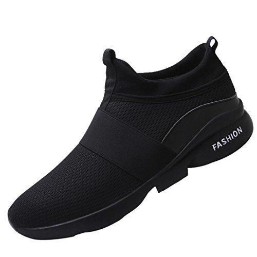 Somesun sneakers moda uomo scarpe in mesh traspiranti casual slip-on da maglia ginnastica con la suola morbida cima suola morbida in esecuzione di massaggio traspirante (eu42,5/cn44, nero)