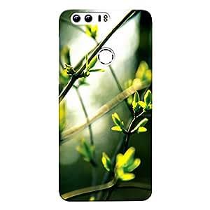 DASM United Honor 8 Premium Back Case Cover - Green Tiny Leaves Bokeh