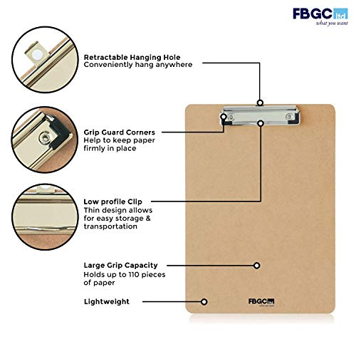 6 x A4 Masonite Clipboards (FBGC) with Spring-Loaded Grip & Hanging Hole - Quality, Wooden, Sturdy & Durable Clip Boards Perfect for Office Work - Low-Profile with a Glazed Finish and Eco-Friendly