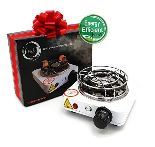 Rascan Elektrischer Shisha Kohleanzünder 500W Turbo Schnellheizer für Shisha Kohle Naturkohle Kokoskohle mit Schutzgitter aus Edelstahl | Sehr Klein aber Sehr Schnell |