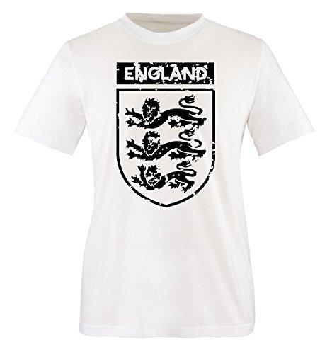 Comedy-Shirts EM 2016 - England - Wappen - Vintage - Herren T-Shirt - Weiss/Schwarz Gr. XXL