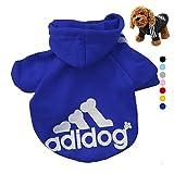 Ideapark Adidog HundeKleidung Warme Hoodies Mantel T-Shirt Kleidung Pullover Haustier Welpen Sportliches Design Kapuzenmantel-Mantel-Kleidung für großen Hund (S, Dunkelblau)