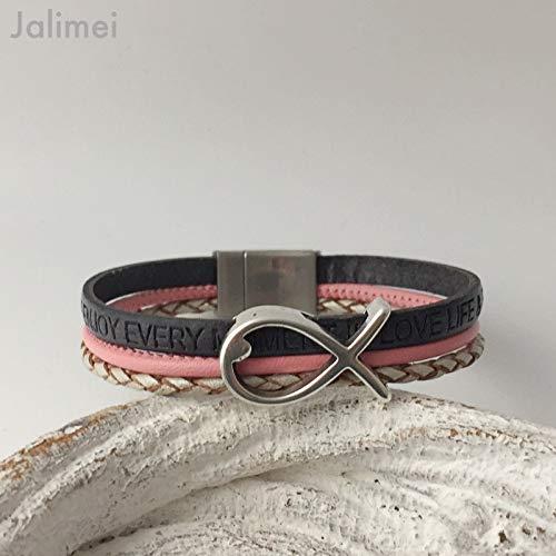 Armband Leder mit Fisch grau rosa, Konfirmation, Magnetverschluß, handmade by Jalimei
