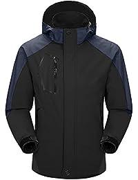Aibrou Herren Wasserdicht Jacke Regenjacke Windbreaker mit abnehmbare Kapuze Atmungsaktiv