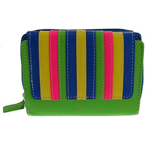 Trend Geldbörse Multifarben Damen Brieftasche knallig bunt (Orange Damen-geldbörse)
