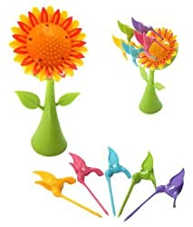 A To Z Sales ( Bright) Sun flower Fruit Fork set , Multi Color