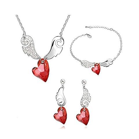 Coffret Parure Bijoux Cœur Aile d'Ange Cristal Swarovski Elements Rouge