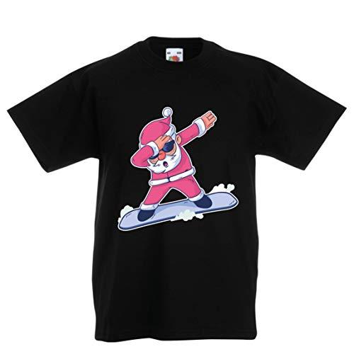 lepni.me Kinder Jungen/Mädchen T-Shirt Weihnachten Dab, Dabbing Weihnachtsmann, Weihnachtsfeiertags-Shirt (3-4 Years Schwarz Mehrfarben)
