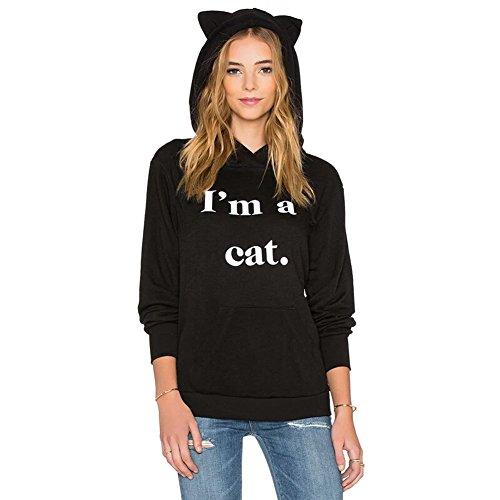 Gato Sudaderas con Capucha Mujer Tumblr Largas Negra Moda Suéter Tops (Negro, L)