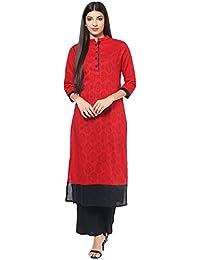 Jaipur Kurti Jacquard Cotton Red & Black Self Design Kurta And Palazzo Set