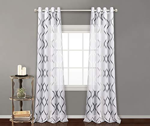 Pimpamtex - tenda trasparente con 8 ochielli, 140 x 260 cm, per soggiorno, camera da letto e camara. tende moderne modello helen - (2 pannelli - 140x260, bianca)