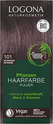 """Logona Pflanzen-Haarfarbe-Pulver schwarz \""""intense\"""" (100 g)"""