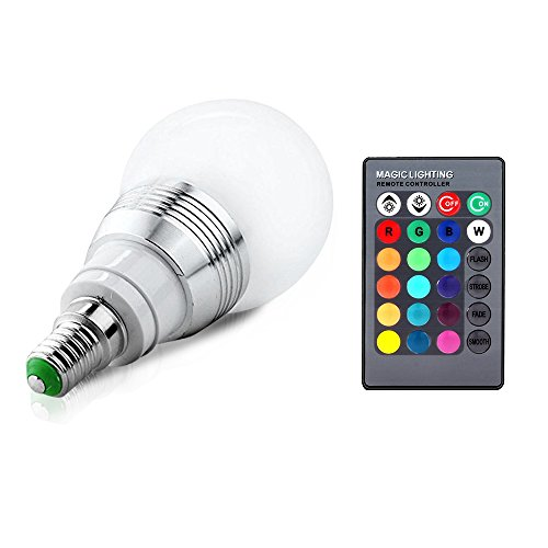 Lifebee Bombilla LED E14 5W Multicolor E14 RGB LED Bombillas Ajustable con Control Remoto Mando infrarrojo [Clase de eficiencia energética A++]