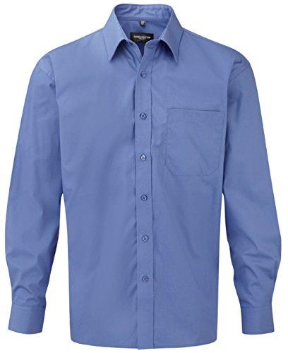 Russell Collection Herren Langärmeliges Hemd 100% Baumwolle pflegeleicht Blau - Aztec Blue