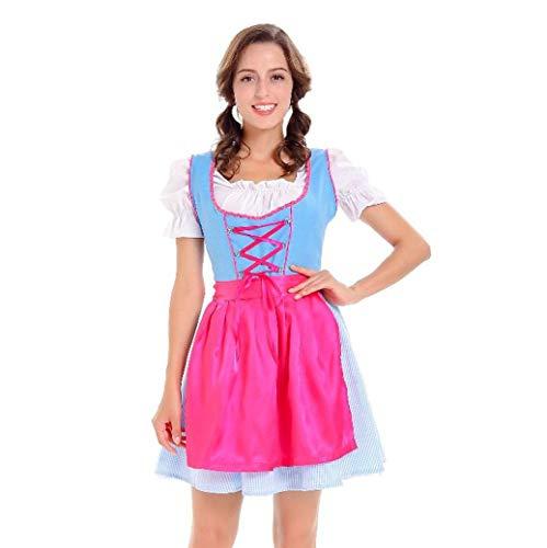 (VEMOW Damen Kostüme Elegant Damen 3 Stück Dirndl Kleid Bluse Costumes rachtenkleid mit Stickerei Traditionelle Bayerische Oktoberfest Karneval(Blau 2, EU-40/CN-XL))