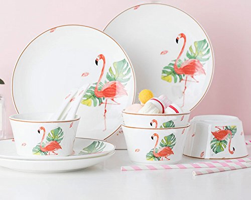 CWJ Dish Set Haushalt Gerichte Cute Plate Keramik Bone China Geschirr Set Chinesischen Stil,16 Köpfe China Plate Set
