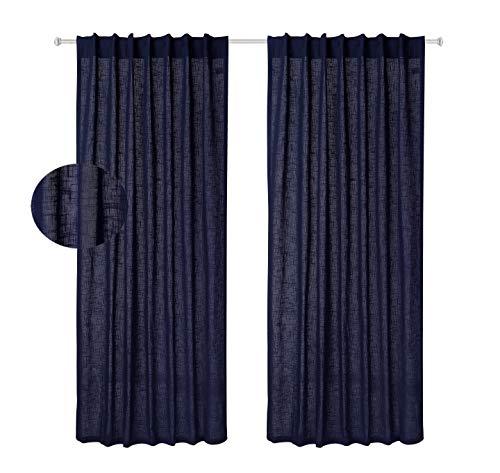 Baumwolle-Klinik Vorhang 2 Stück - Slub Baumwolle Gardine, Vorhänge Wohnzimmer, Vorhänge Schlafzimmer, Vorhänge verdunklung 122x274 cm 2er Set Marineblau (Vorhang-sets Für Schlafzimmer)