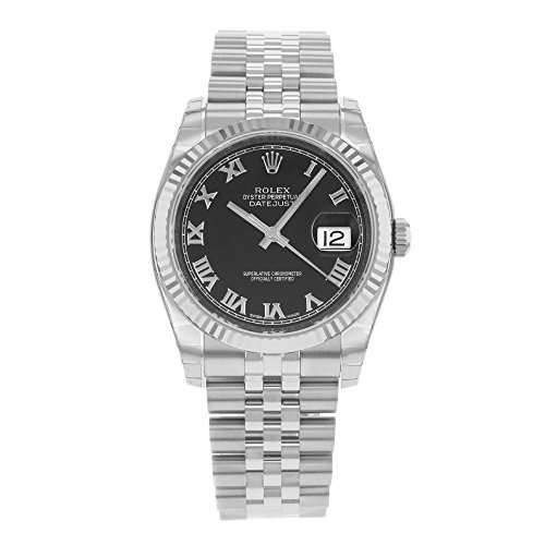 Rolex Mens New Style Heavy Band Stainless Steel Datejust Model 116234 Jubilee Band 18K White Gold Fluted Bezel Black Roman Dial