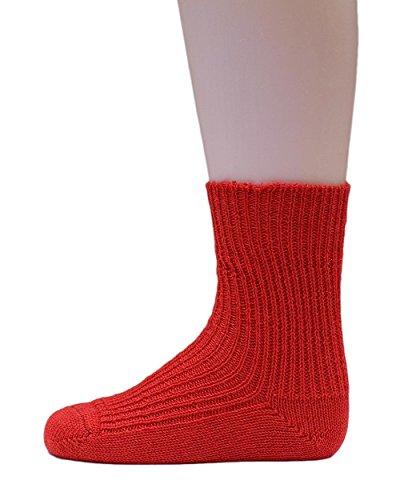 Hirsch Natur, Grobstrick Socken Baby und Kinder, 100% Wolle (kbT) (33-34, Rot) -