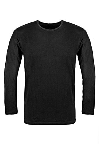2 Herren Basic Langarm T-Shirt Baumwolle Slim fit Stretch 70081 Schwarz