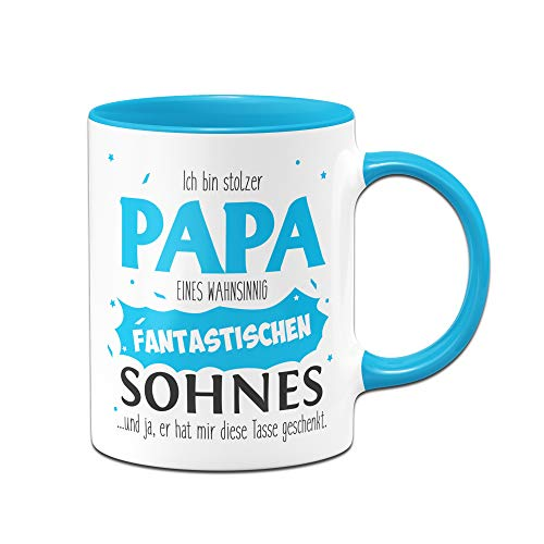 Tassenbrennerei Tasse Papa Sohn - Stolzer Papa - Geschenk für Vater Papa (Blau)