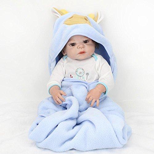 by Reborn Silikon Puppe niedliche Mädchen Geburtstagsgeschenk, Kind Begleiter Spielzeug, Baden (Perücken Für Babys)