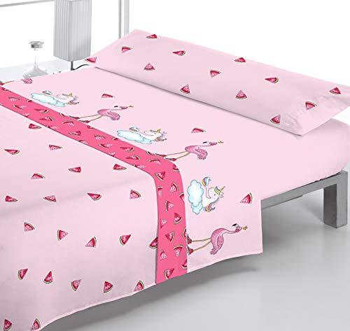 Reig Martí Juego DE SÁBANAS Estampado 3/Piezas Modelo: Pink, Color: 02 Rosa,...