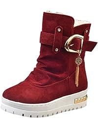 Para Mujer es Rojo Zapatos Mocasines Amazon Hebillas agXxwAwf