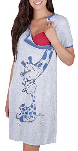 Mija - camicia da notte 2 in 1 cotone premaman/allattamento/allattamento al seno 2050 (it 52, blu marino)