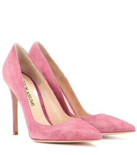 EDEFS Femmes Artisan Fashion Escarpins Unis Classiques Lady Travail Bureau Pointus Des Couleurs Chaussures à talon haut de 100mm Rosé-SL