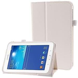 Housse Samsung Galaxy Tab 3 Lite SM T110 Support simili cuir Blanc