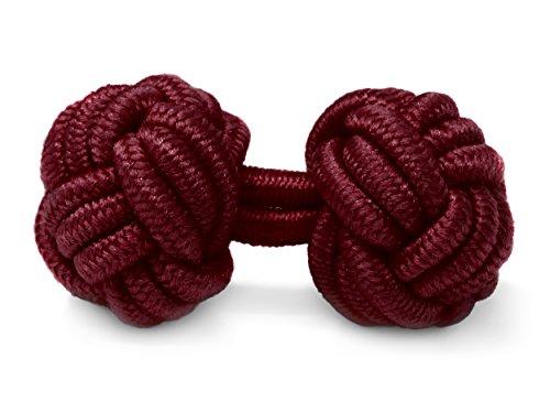 THE SUITS CREW Manschettenknöpfe Seidenknoten Herren Damen Nylon Stoff | Cufflinks Silk Knots für alle Umschlagmanschetten Hemden | Einfarbig (Bordeaux)