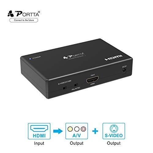 Portta Converter HDMI zu AV / CVBS Composite-Cinch + S-Video Converter v1.3 unterstützt 1080p (Zoll 36 Tv Hd)