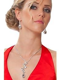 SEXYHER Stunning Silber Halskette und Ohrringe mit klaren Swarovski-Kristallen