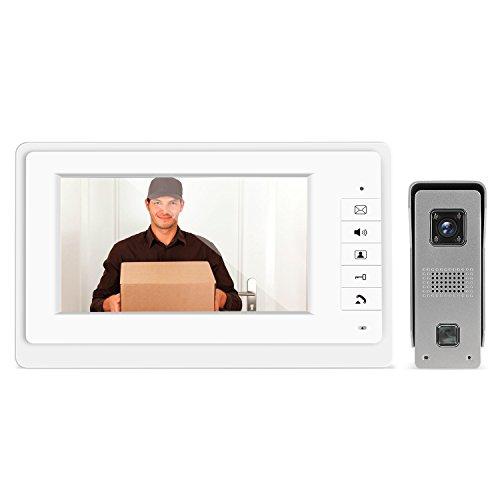 Immagine di MVPOWER Videocitofono Multicolori 7 Pollici Monitor TFT LCD Video Campanello Antipioggia Sistema Antifurto con Vista Notturna a 4 LED Infrarossi Sorveglianza Telecamera Domestica (1 Set)
