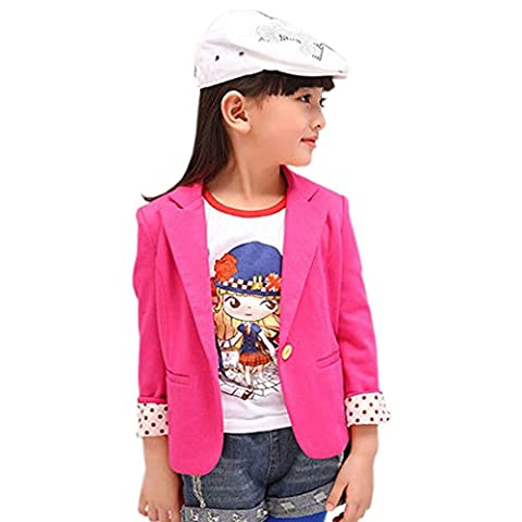 Fille Enfant veston Manches Longues Chemise (3-4 années, pink)