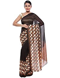 SNOVA Women's Georgette Trendy Bollywood Printed Saree With Blouse(AKR_S_SYM_01_1_1_Brown)
