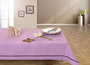 130x130 lila Tischdecke Tischtuch elegant praktisch pflegeleicht Leinoptik Lein Optik mit Borte Modern Lein