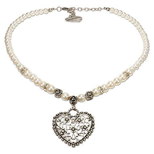 Alpenflüstern Perlen-Trachtenkette Blüten-Herz - Damen-Trachtenschmuck mit Strass-Trachtenherz, Dirndlkette weiß DHK153