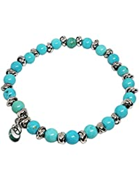 Cloto summer vibes Turquoise Tuesday bracciale con pietre howlite turchese 6mm e charm in argento 925 My Silver