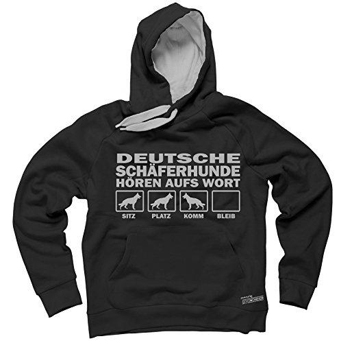 DEUTSCHER SCHÄFERHUND Schäfer Shepherd Alsatian - HÖREN AUFS WORT Unisex Hoodie Kapuzensweatshirt Pullover Fun Siviwonder black S (Deutscher Schäferhund Kleidung)