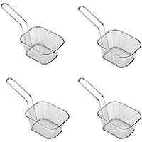 Cesta de virutas para 4 piezas de acero inoxidable cuadrado de alimentos para freír, mini cesta Frirtes para patatas fritas, camarones, aros de cebolla, cocina restaurante herramientas de cocina